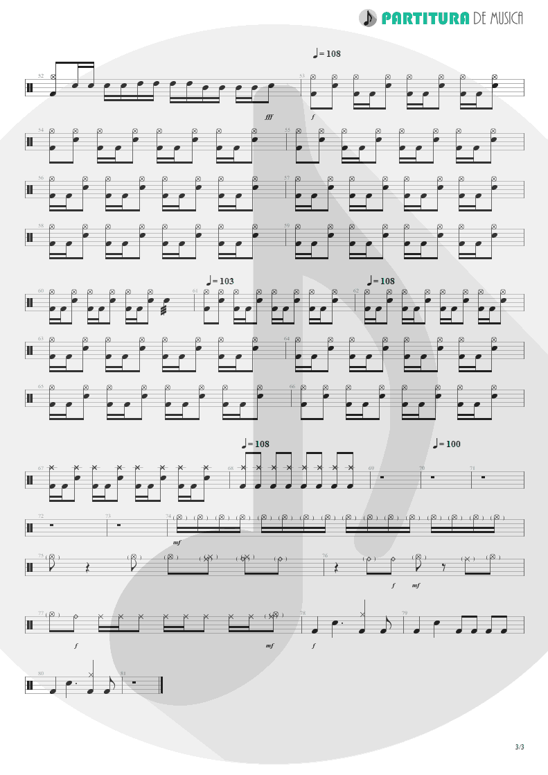 Partitura de musica de Bateria - Demolition Lovers | My Chemical Romance | I Brought You My Bullets, You Brought Me Your Love 2002 - pag 3