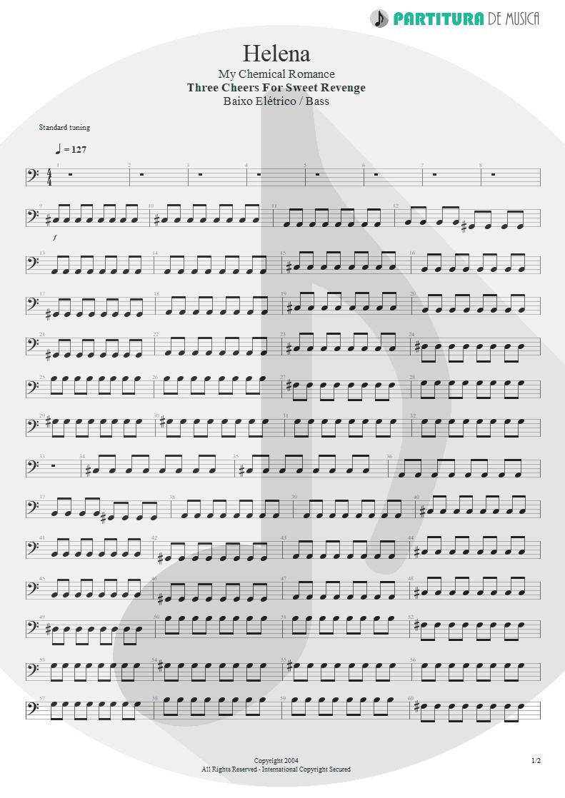 Partitura de musica de Baixo Elétrico - Helena | My Chemical Romance | Three Cheers For Sweet Revenge 2004 - pag 1