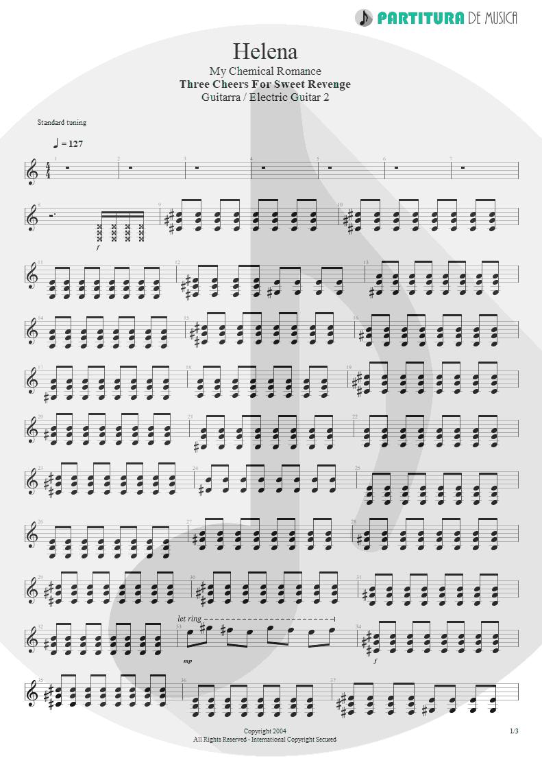 Partitura de musica de Guitarra Elétrica - Helena | My Chemical Romance | Three Cheers For Sweet Revenge 2004 - pag 1