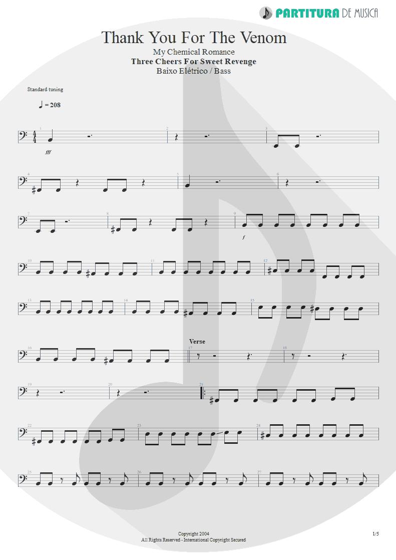 Partitura de musica de Baixo Elétrico - Thank You For The Venom | My Chemical Romance | Three Cheers For Sweet Revenge 2004 - pag 1