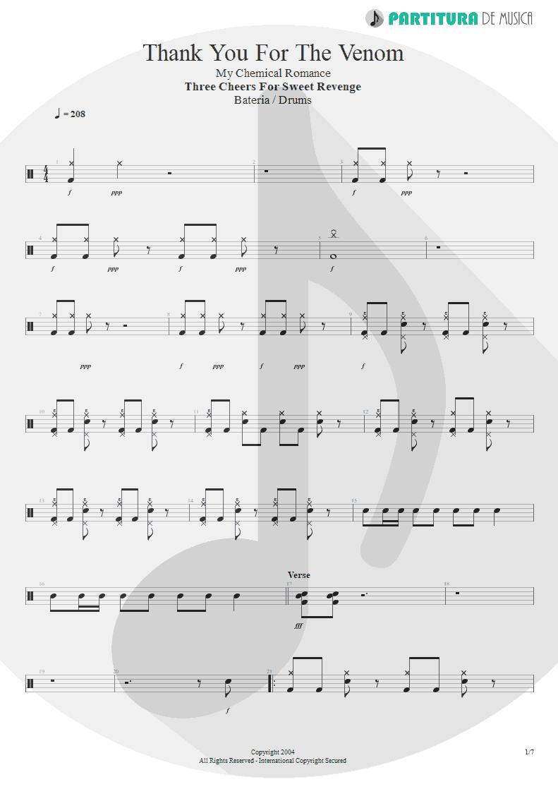 Partitura de musica de Bateria - Thank You For The Venom   My Chemical Romance   Three Cheers For Sweet Revenge 2004 - pag 1