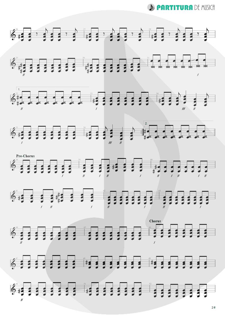 Partitura de musica de Guitarra Elétrica - Thank You For The Venom | My Chemical Romance | Three Cheers For Sweet Revenge 2004 - pag 2