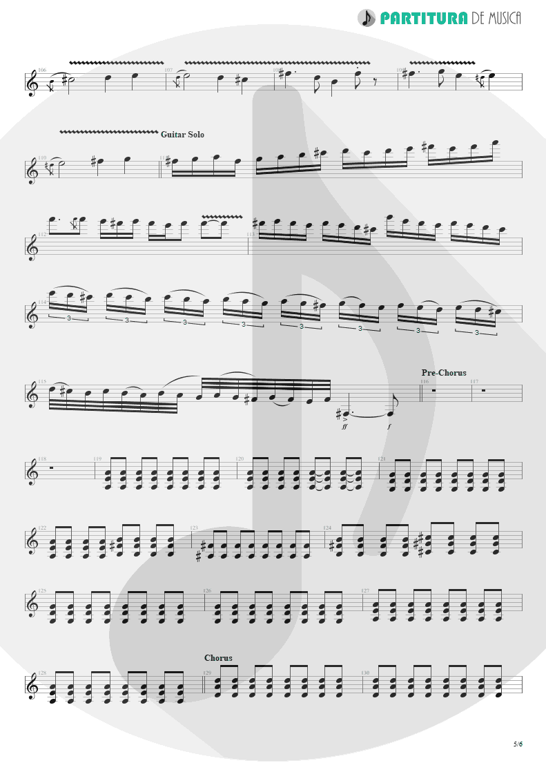 Partitura de musica de Guitarra Elétrica - Thank You For The Venom | My Chemical Romance | Three Cheers For Sweet Revenge 2004 - pag 5