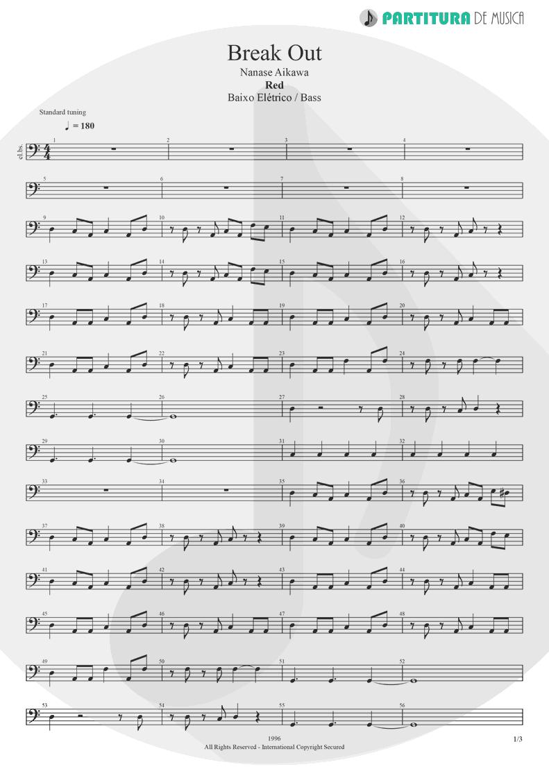 Partitura de musica de Baixo Elétrico - Break Out | Nanase Aikawa | Red 1996 - pag 1