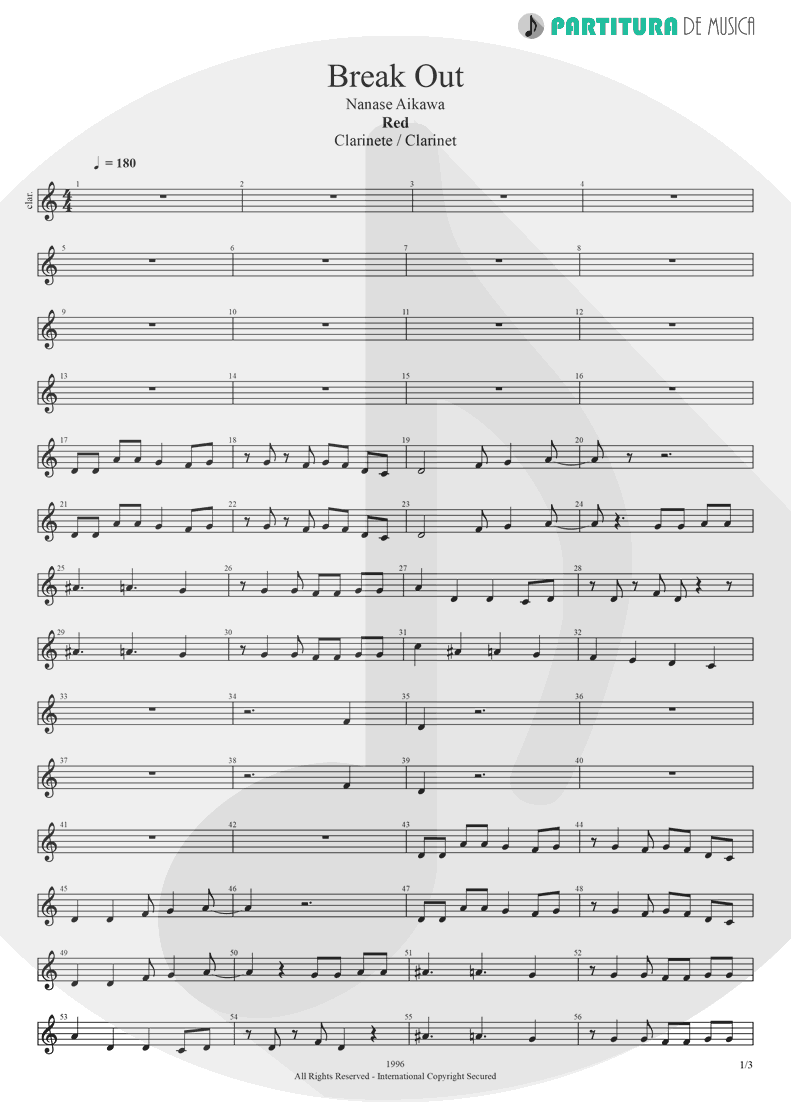 Partitura de musica de Clarinete - Break Out | Nanase Aikawa | Red 1996 - pag 1
