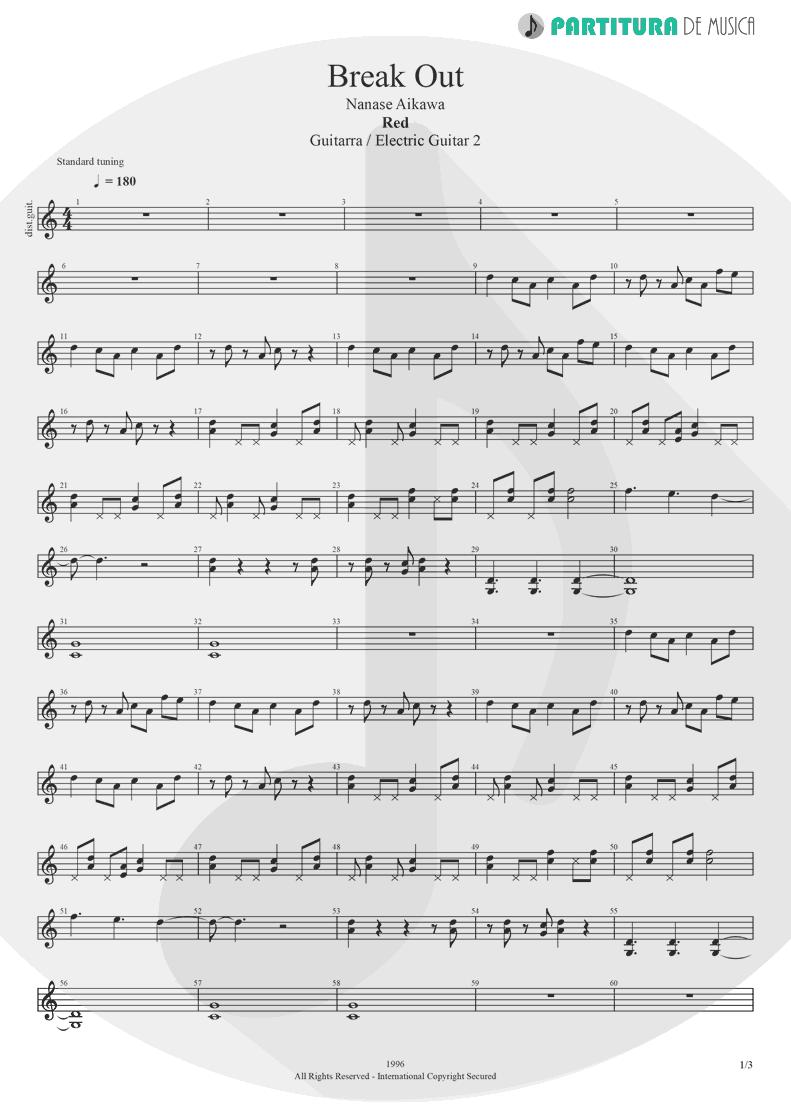 Partitura de musica de Guitarra Elétrica - Break Out | Nanase Aikawa | Red 1996 - pag 1
