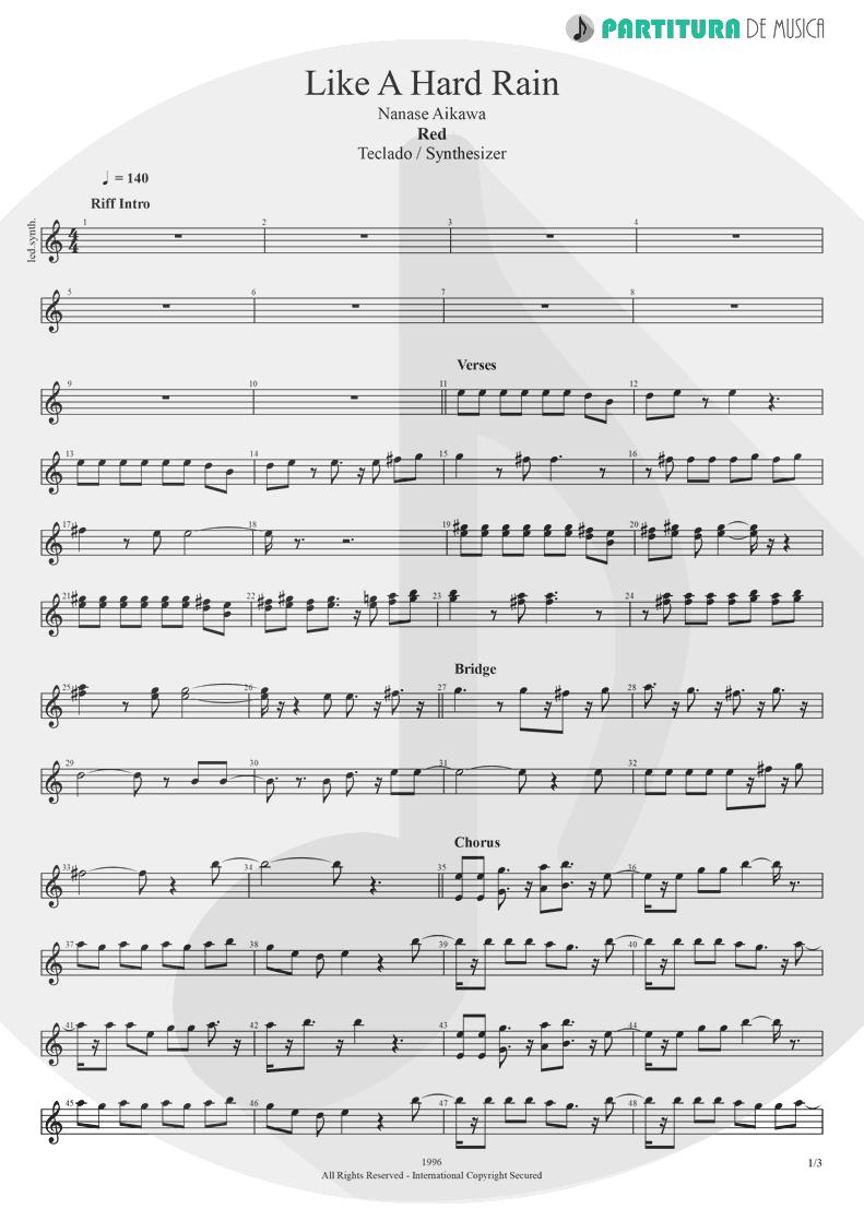 Partitura de musica de Teclado - Like A Hard Rain | Nanase Aikawa | Red 1996 - pag 1