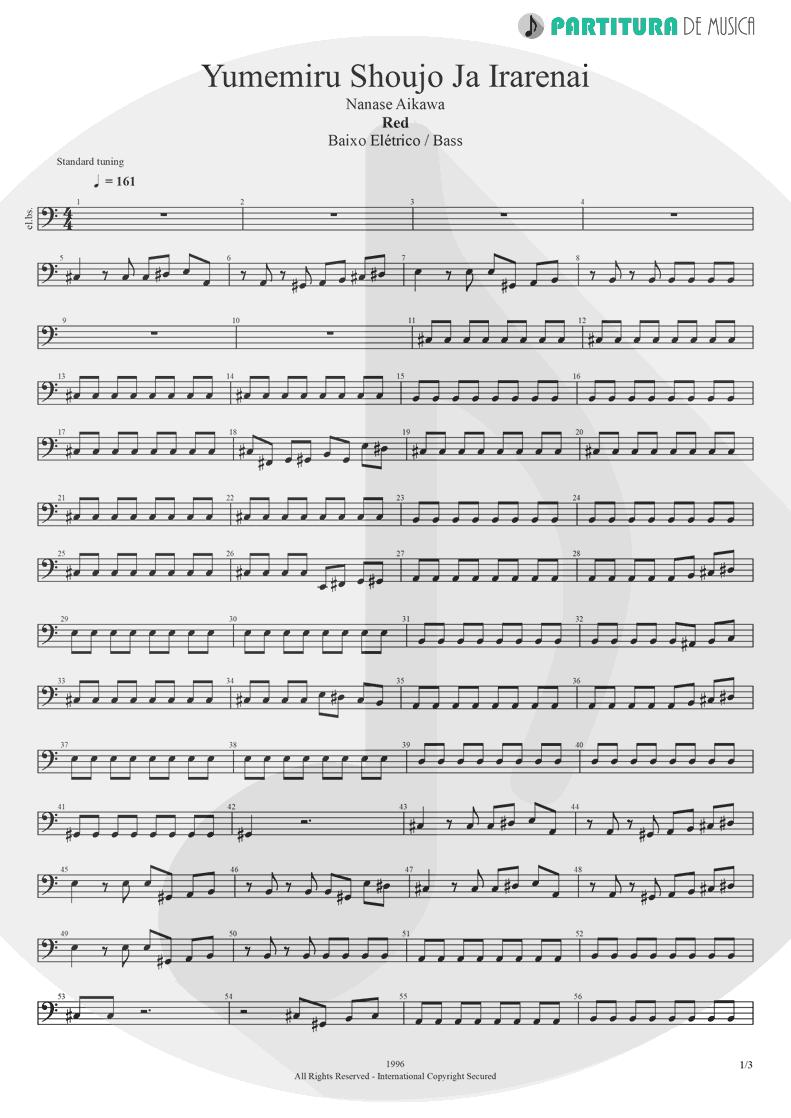 Partitura de musica de Baixo Elétrico - Yumemiru Shoujo Ja Irarenai   Nanase Aikawa   Red 1996 - pag 1