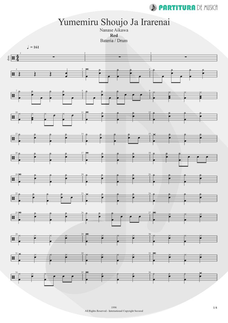 Partitura de musica de Bateria - Yumemiru Shoujo Ja Irarenai | Nanase Aikawa | Red 1996 - pag 1