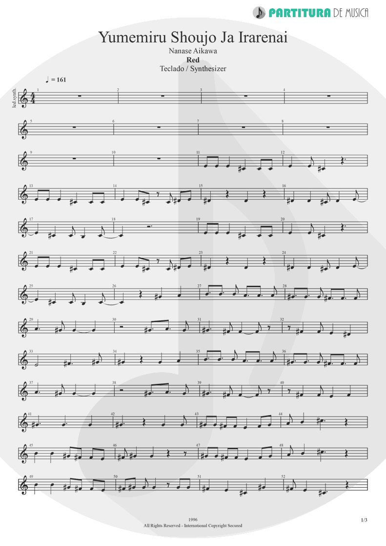 Partitura de musica de Teclado - Yumemiru Shoujo Ja Irarenai | Nanase Aikawa | Red 1996 - pag 1