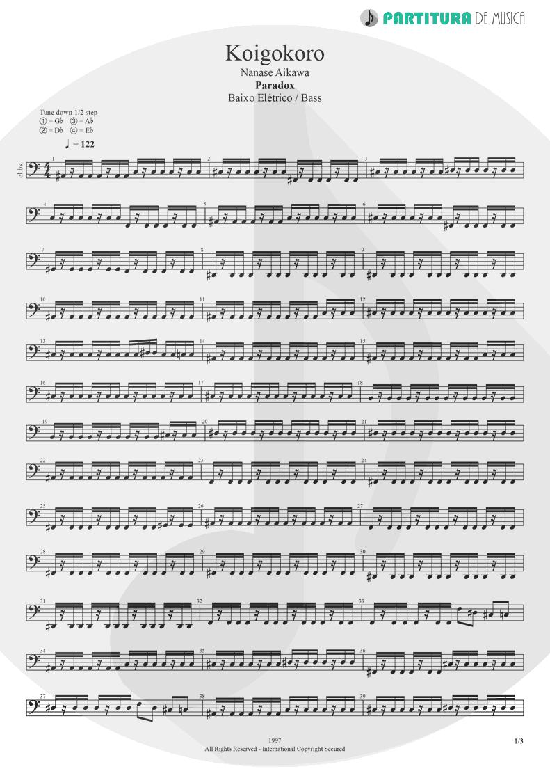 Partitura de musica de Baixo Elétrico - Koigokoro | Nanase Aikawa | Paradox 1997 - pag 1