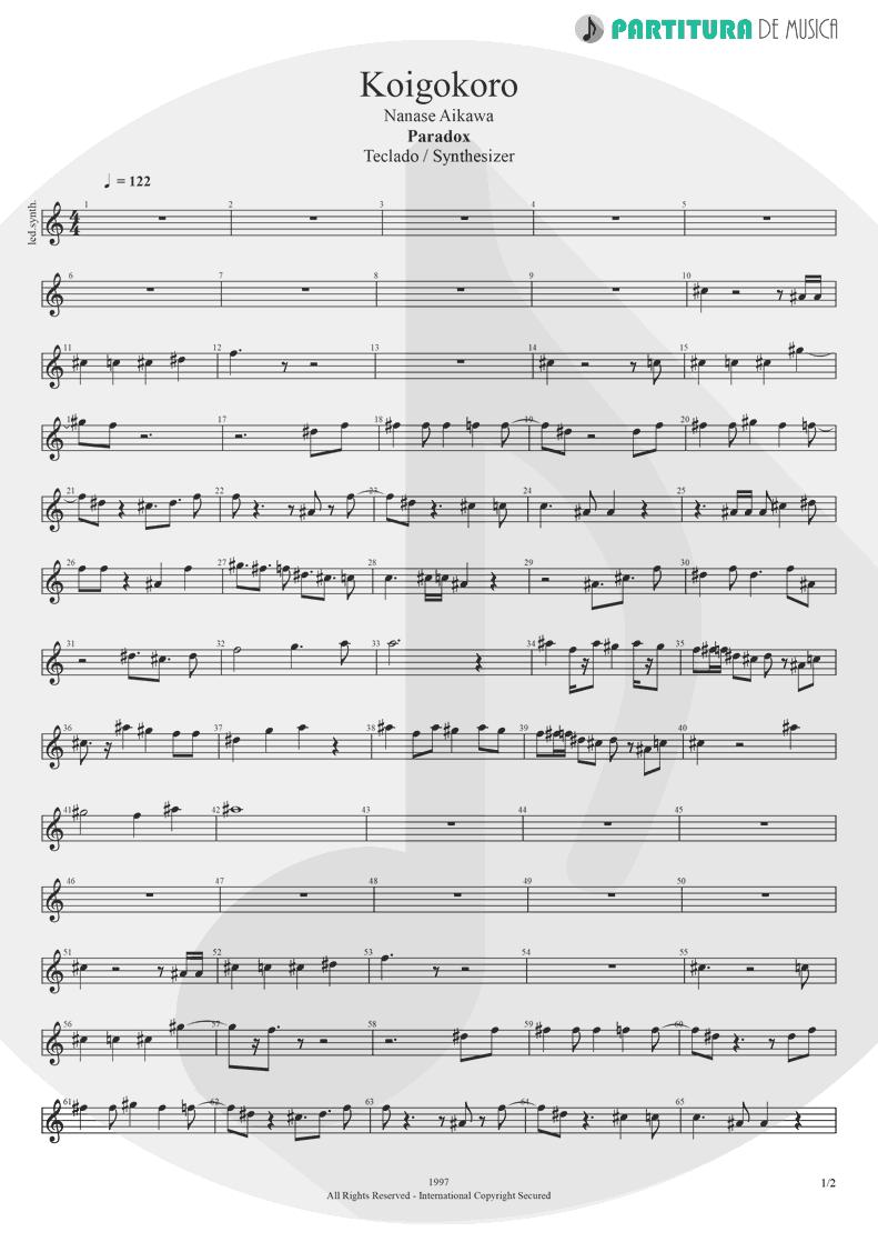 Partitura de musica de Teclado - Koigokoro | Nanase Aikawa | Paradox 1997 - pag 1