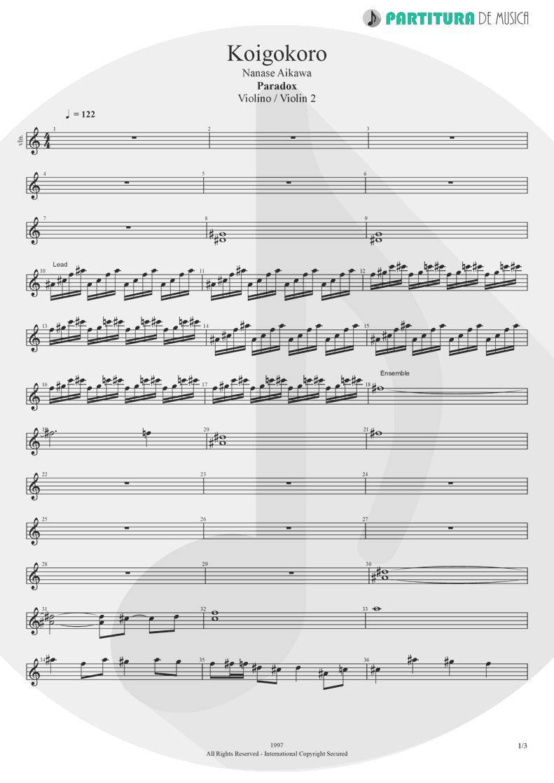 Partitura de musica de Violino - Koigokoro | Nanase Aikawa | Paradox 1997 - pag 1