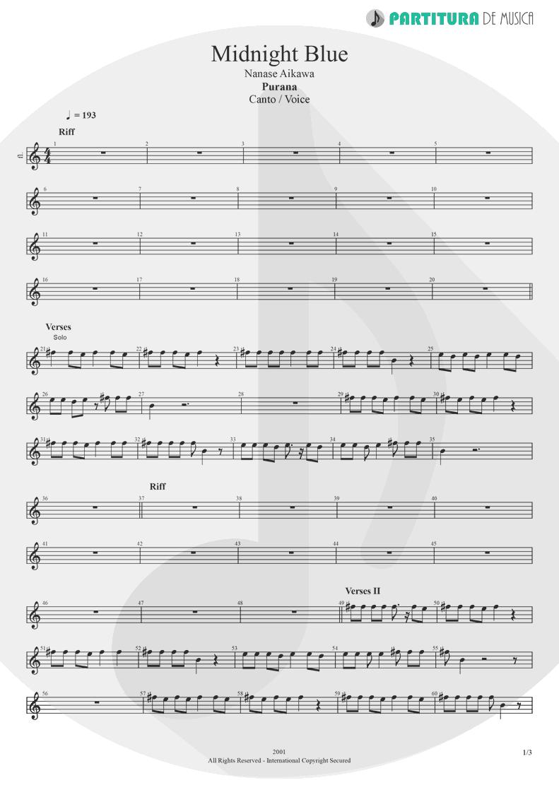 Partitura de musica de Canto - Midnight Blue | Nanase Aikawa | Purana 2001 - pag 1