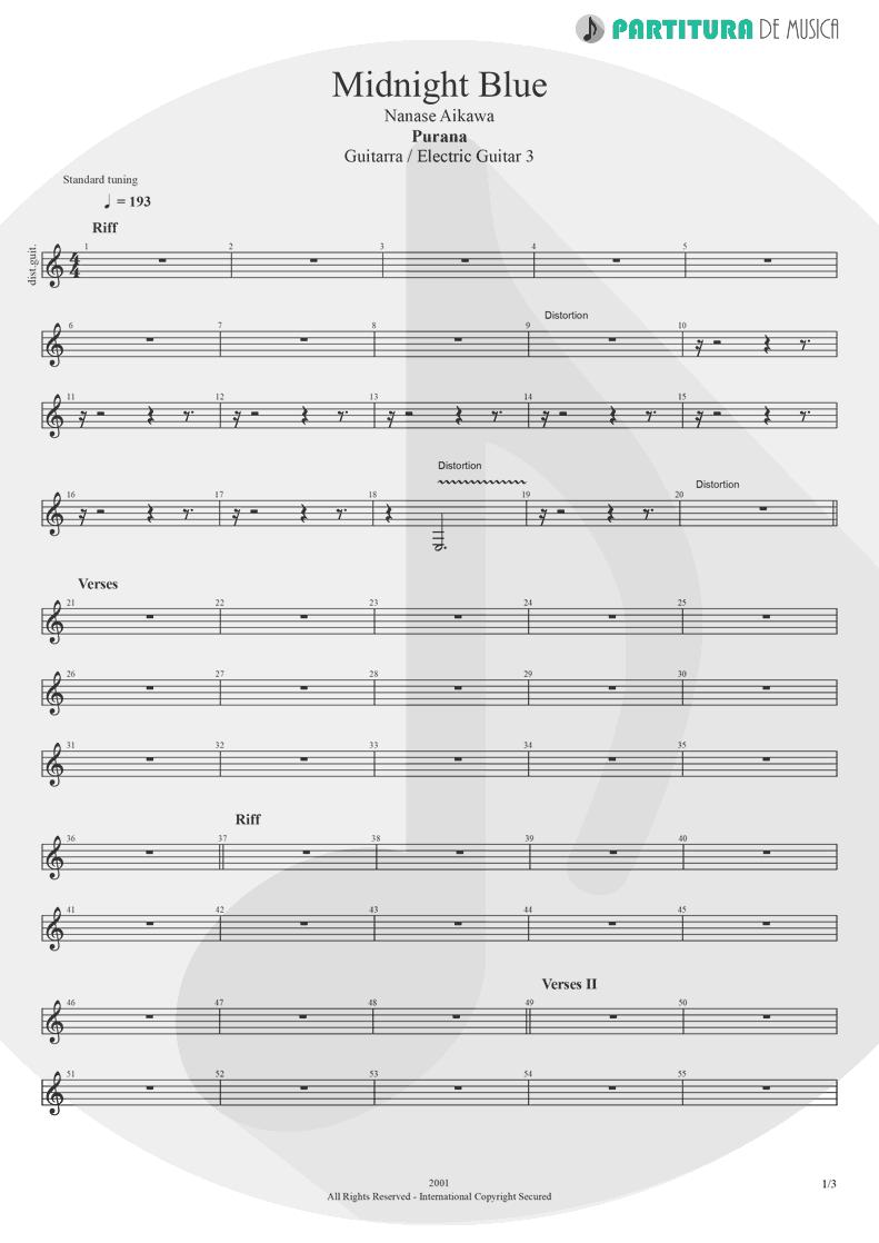 Partitura de musica de Guitarra Elétrica - Midnight Blue | Nanase Aikawa | Purana 2001 - pag 1
