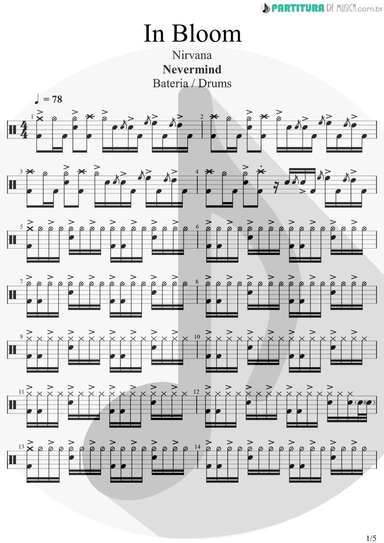 Partitura de musica de Bateria - In Bloom | Nirvana | Nevermind 1991 - pag 1
