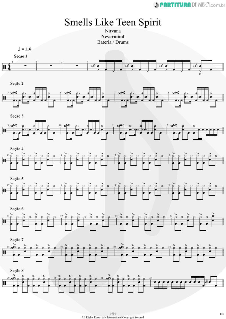 Partitura de musica de Bateria - Smells Like Teen Spirit | Nirvana | Nevermind 1991 - pag 1
