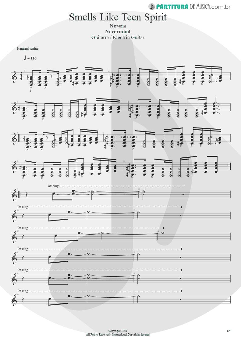Partitura de musica de Guitarra Elétrica - Smells Like Teen Spirit | Nirvana | Nevermind 1991 - pag 1