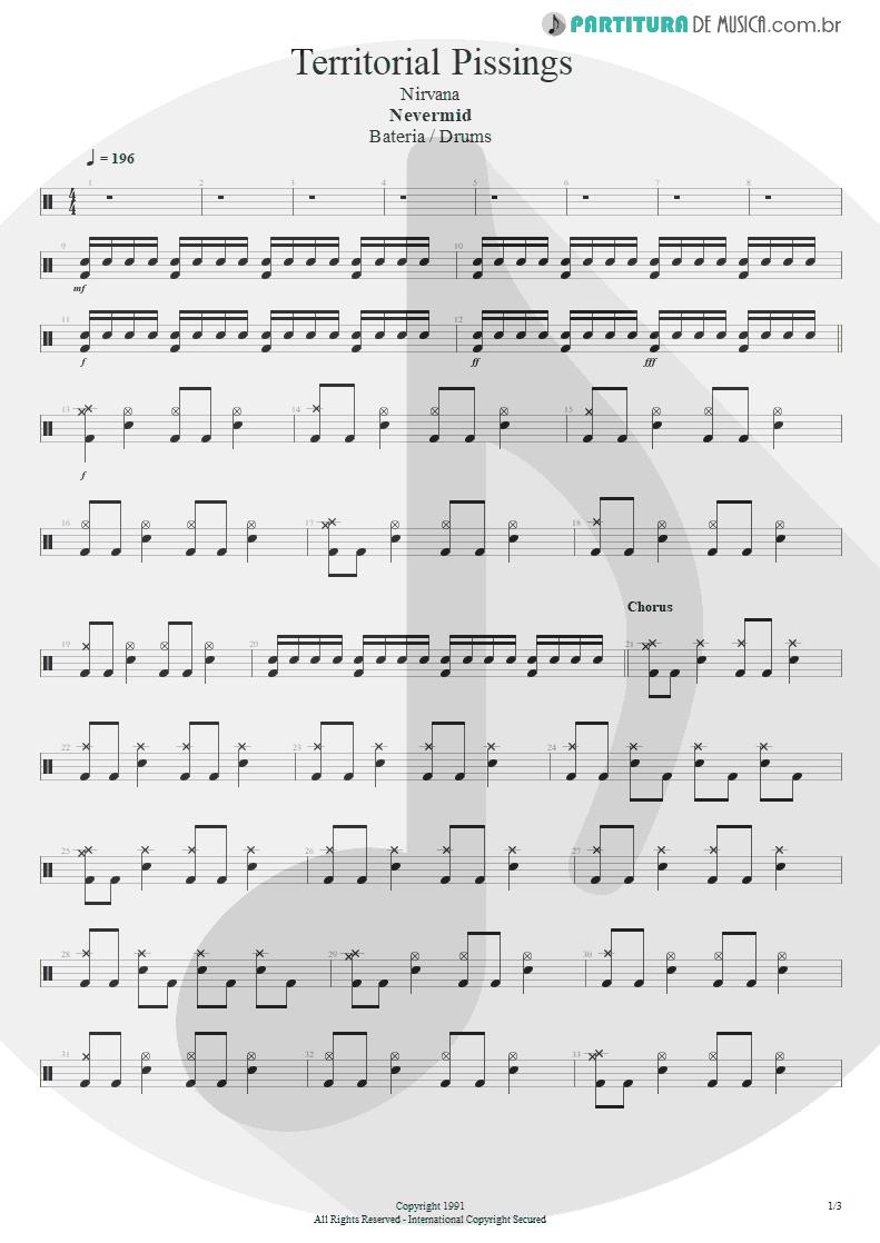 Partitura de musica de Bateria - Territorial Pissings | Nirvana | Nevermind 1991 - pag 1