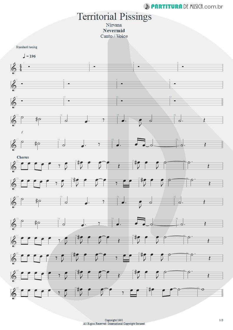 Partitura de musica de Canto - Territorial Pissings | Nirvana | Nevermind 1991 - pag 1