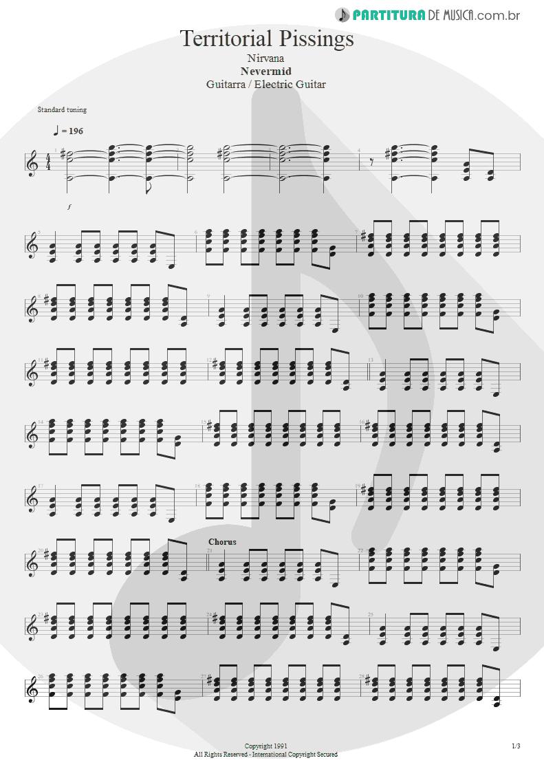 Partitura de musica de Guitarra Elétrica - Territorial Pissings | Nirvana | Nevermind 1991 - pag 1