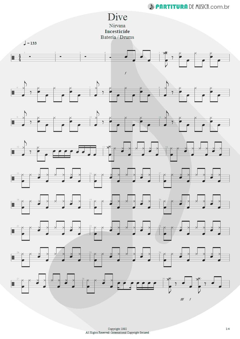 Partitura de musica de Bateria - Dive | Nirvana | Incesticide 1992 - pag 1