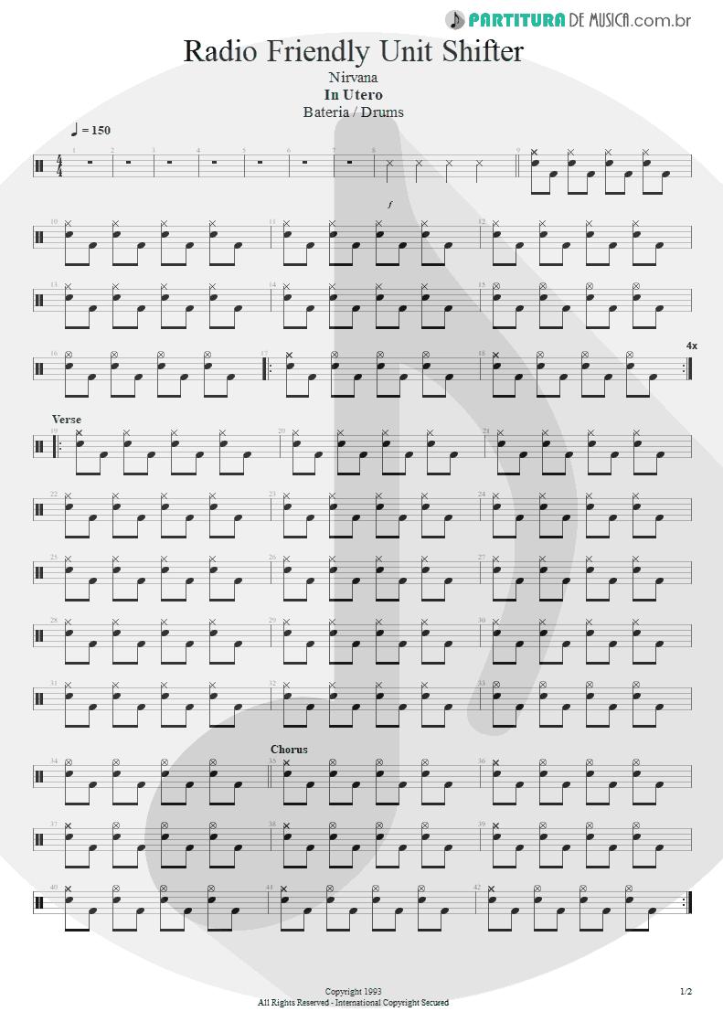 Partitura de musica de Bateria - Radio Friendly Unit Shifter | Nirvana | In Utero 1993 - pag 1