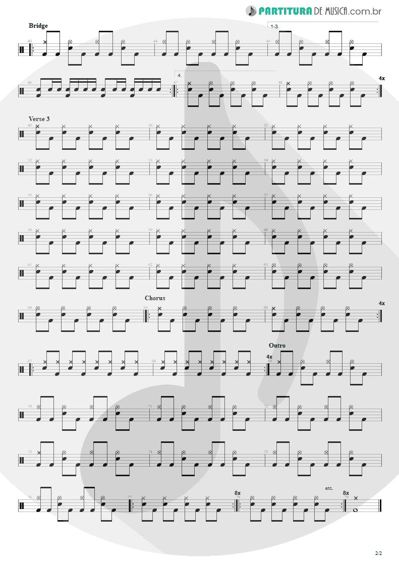 Partitura de musica de Bateria - Radio Friendly Unit Shifter | Nirvana | In Utero 1993 - pag 2