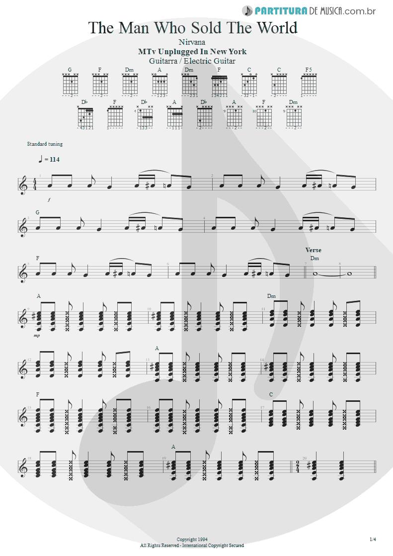 Partitura de musica de Guitarra Elétrica - The Man Who Sold The World | Nirvana | MTv Unplugged in New York 1994 - pag 1