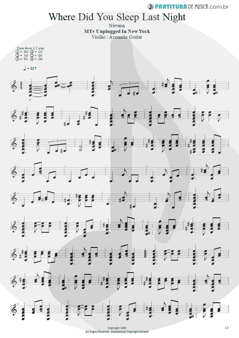 Partitura de musica de Violão - Where Did You Sleep Last Night   Nirvana   MTv Unplugged in New York 1994 - pag 1