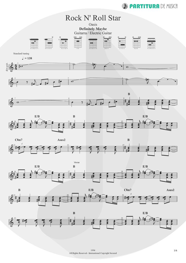 Partitura de musica de Guitarra Elétrica - Rock 'n' Roll Star   Oasis   Definitely Maybe 1994 - pag 1