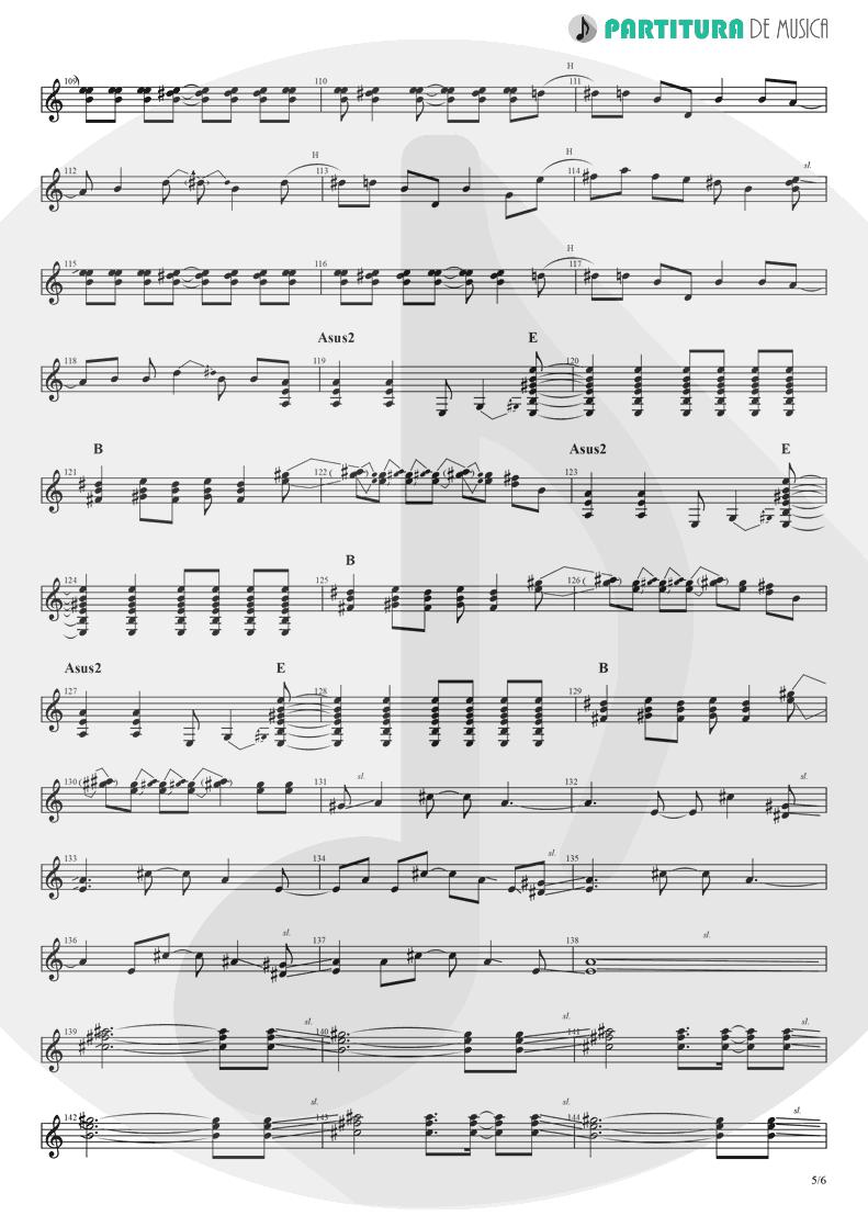 Partitura de musica de Guitarra Elétrica - Rock 'n' Roll Star   Oasis   Definitely Maybe 1994 - pag 5
