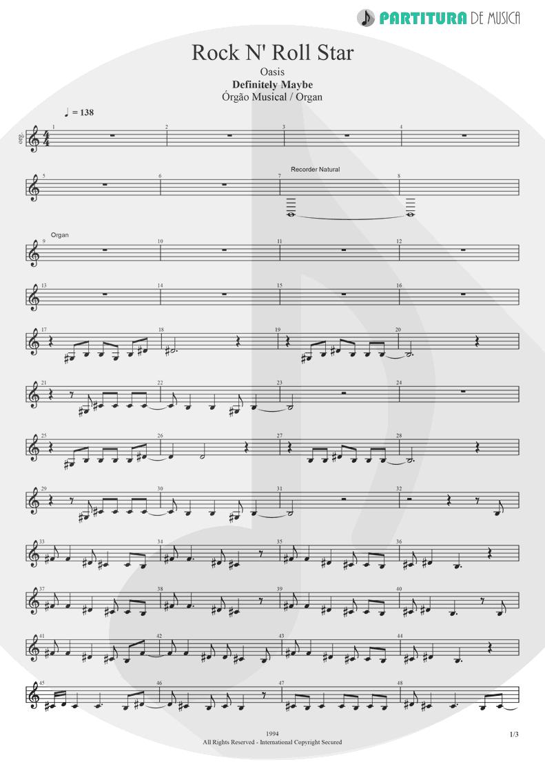 Partitura de musica de Órgão - Rock 'n' Roll Star | Oasis | Definitely Maybe 1994 - pag 1