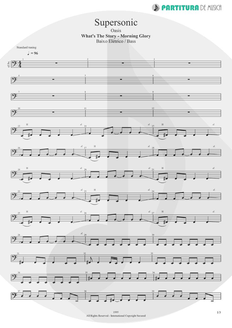 Partitura de musica de Baixo Elétrico - Supersonic | Oasis | Definitely Maybe 1994 - pag 1