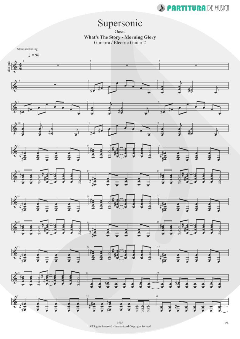 Partitura de musica de Guitarra Elétrica - Supersonic | Oasis | Definitely Maybe 1994 - pag 1