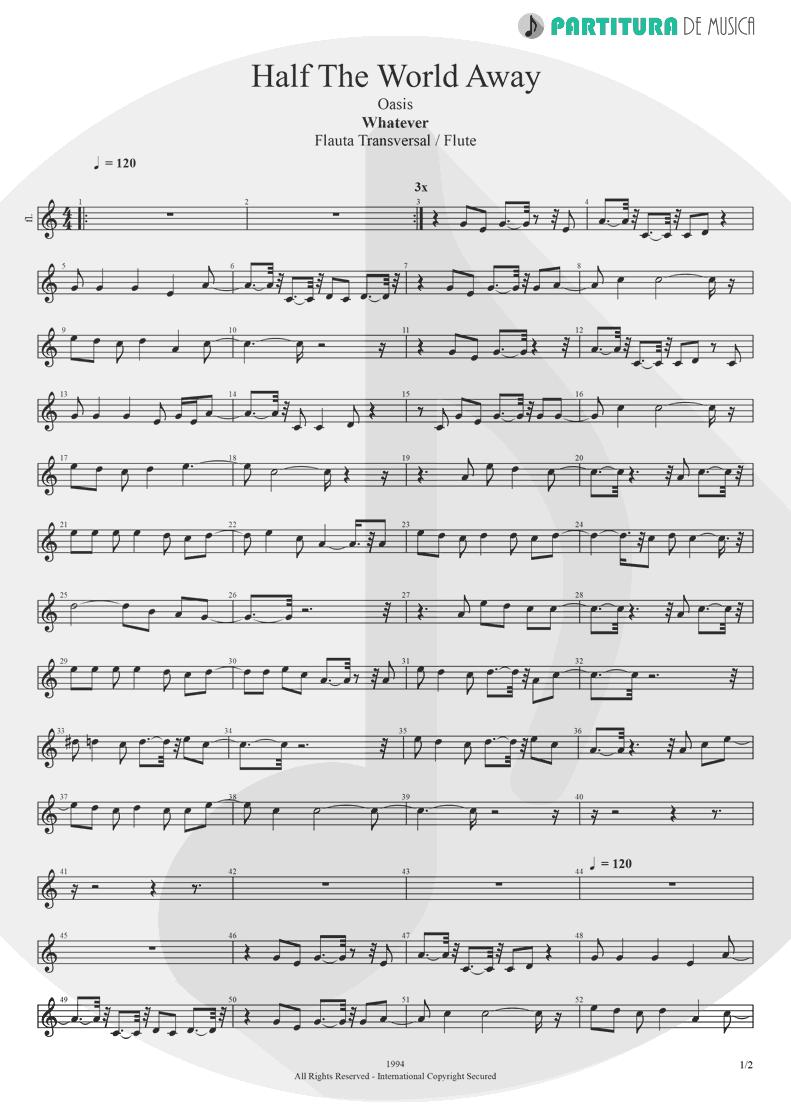 Partitura de musica de Flauta Transversal - Half the World Away | Oasis | Whatever 1994 - pag 1