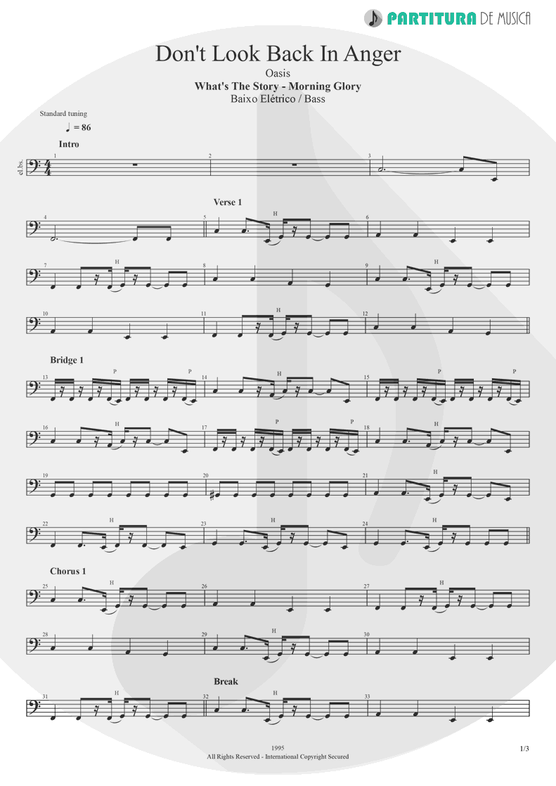 Partitura de musica de Baixo Elétrico - Don't Look Back In Anger | Oasis | (What's the Story) Morning Glory? 1995 - pag 1