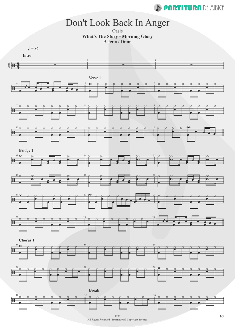 Partitura de musica de Bateria - Don't Look Back In Anger | Oasis | (What's the Story) Morning Glory? 1995 - pag 1