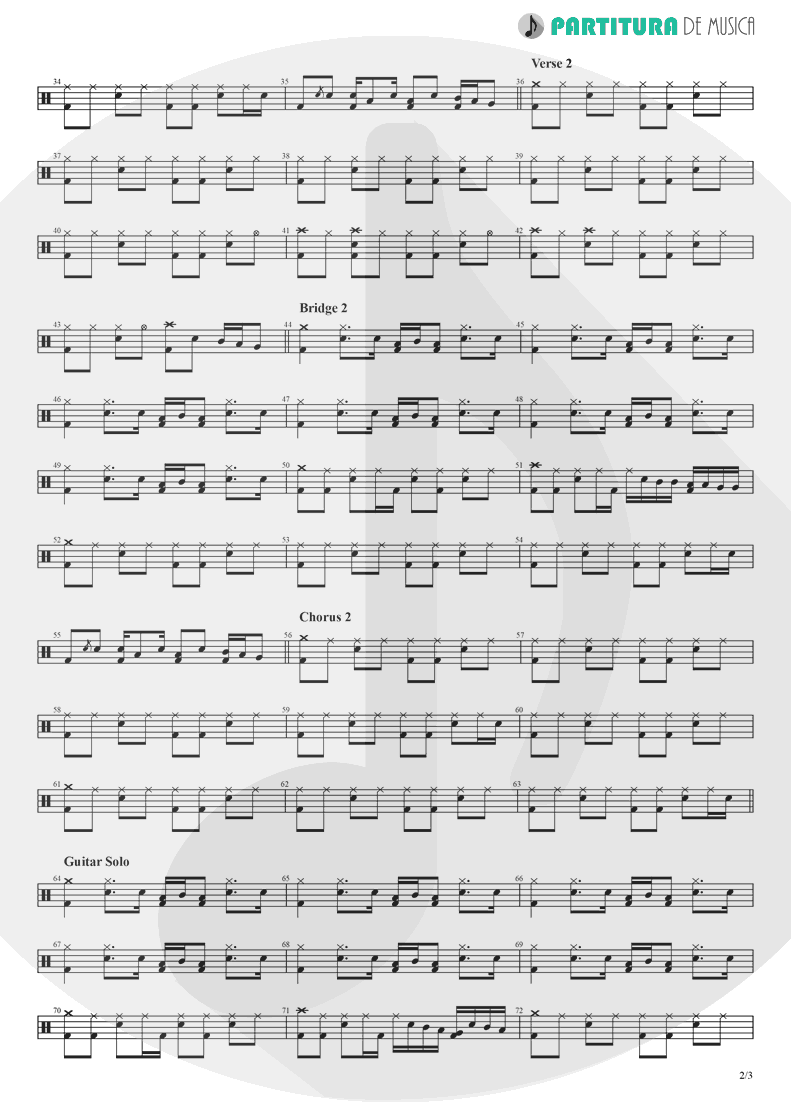 Partitura de musica de Bateria - Don't Look Back In Anger | Oasis | (What's the Story) Morning Glory? 1995 - pag 2