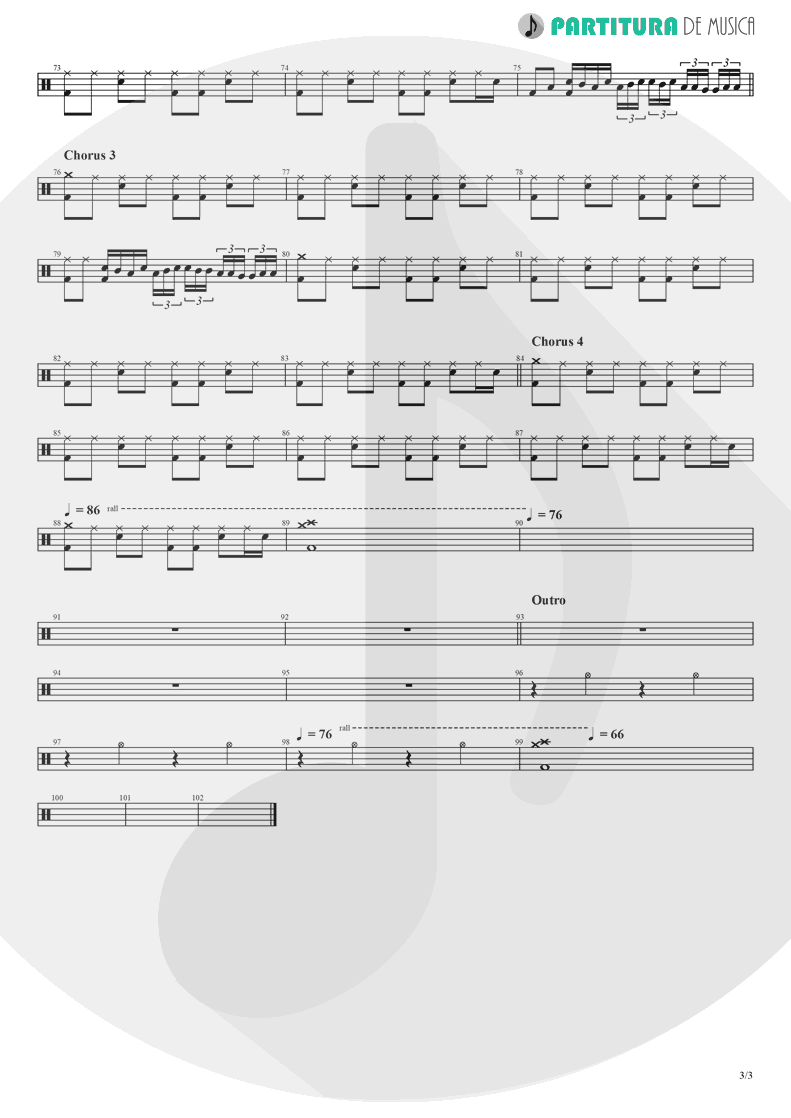 Partitura de musica de Bateria - Don't Look Back In Anger | Oasis | (What's the Story) Morning Glory? 1995 - pag 3