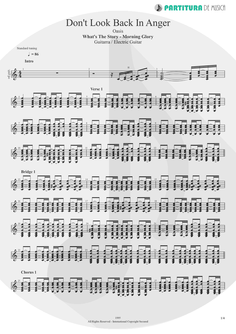 Partitura de musica de Guitarra Elétrica - Don't Look Back In Anger | Oasis | (What's the Story) Morning Glory? 1995 - pag 1