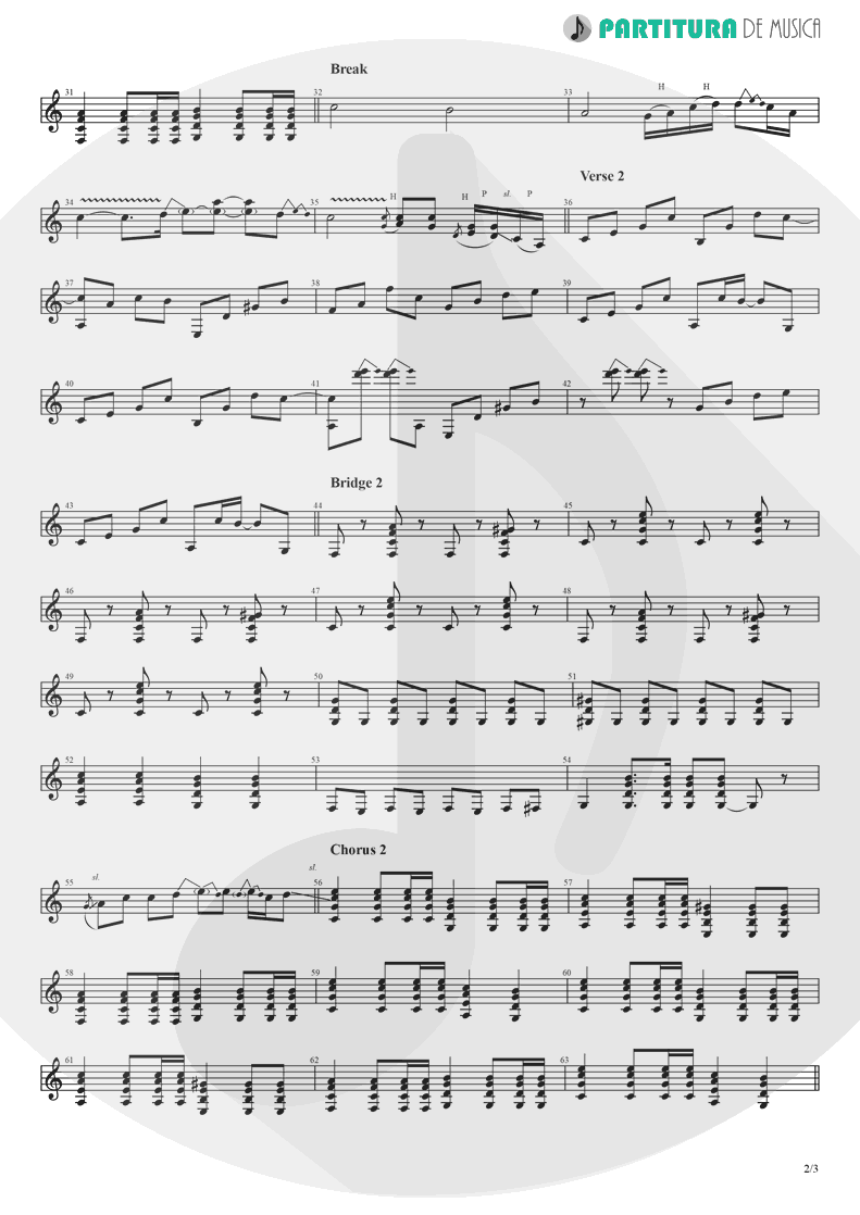 Partitura de musica de Guitarra Elétrica - Don't Look Back In Anger | Oasis | (What's the Story) Morning Glory? 1995 - pag 2