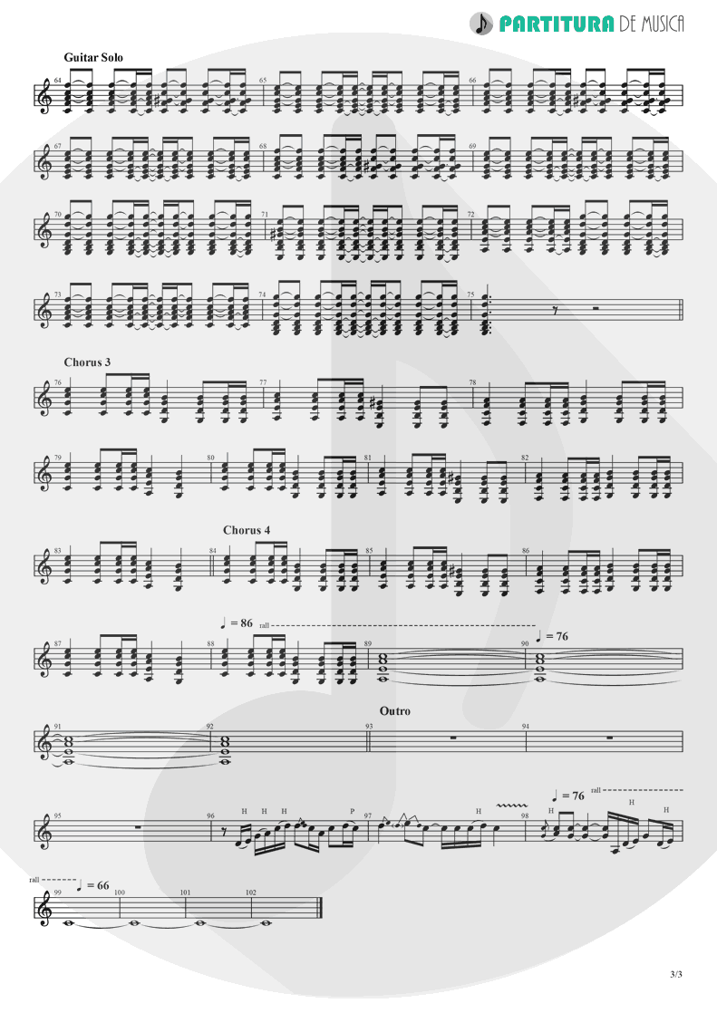 Partitura de musica de Guitarra Elétrica - Don't Look Back In Anger | Oasis | (What's the Story) Morning Glory? 1995 - pag 3
