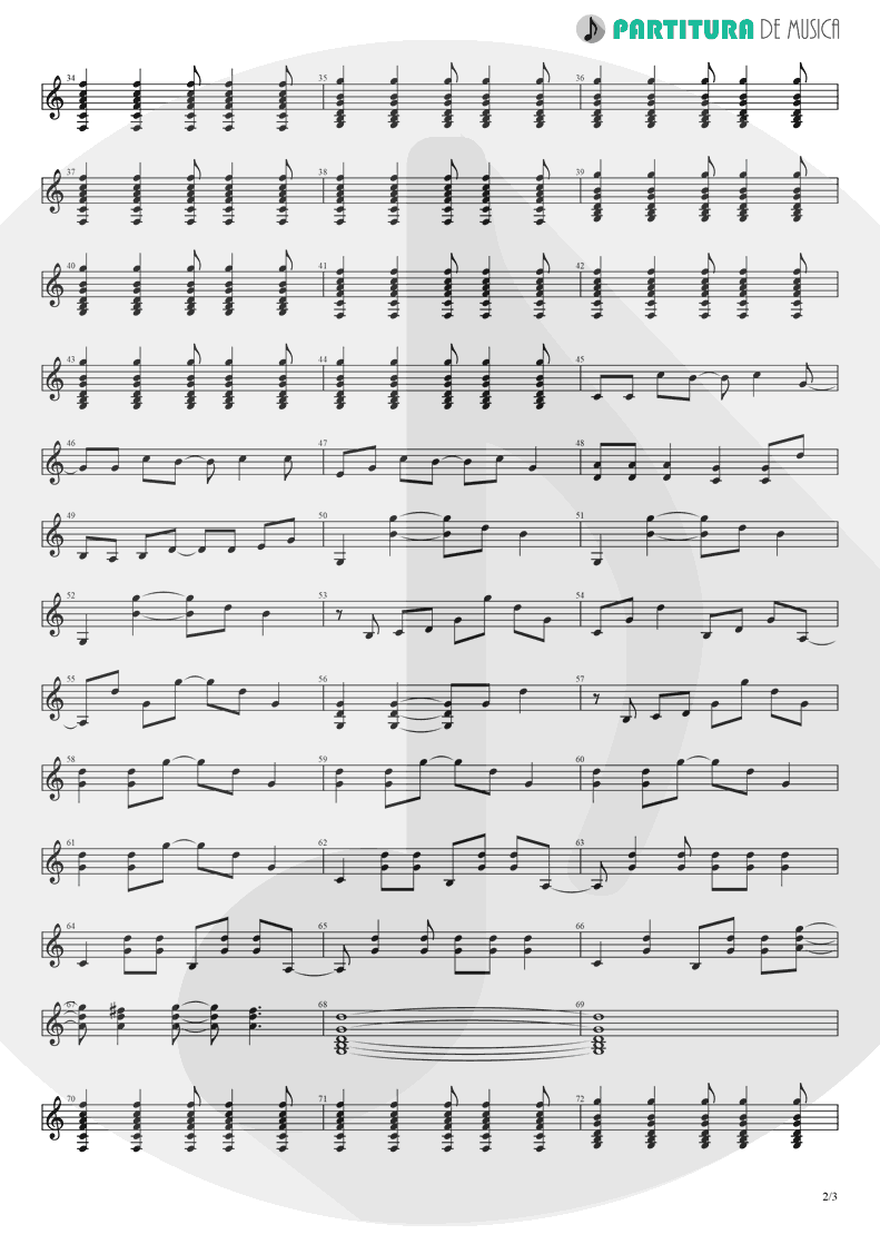 Partitura de musica de Guitarra Elétrica - Roll With It | Oasis | (What's the Story) Morning Glory? 1995 - pag 2
