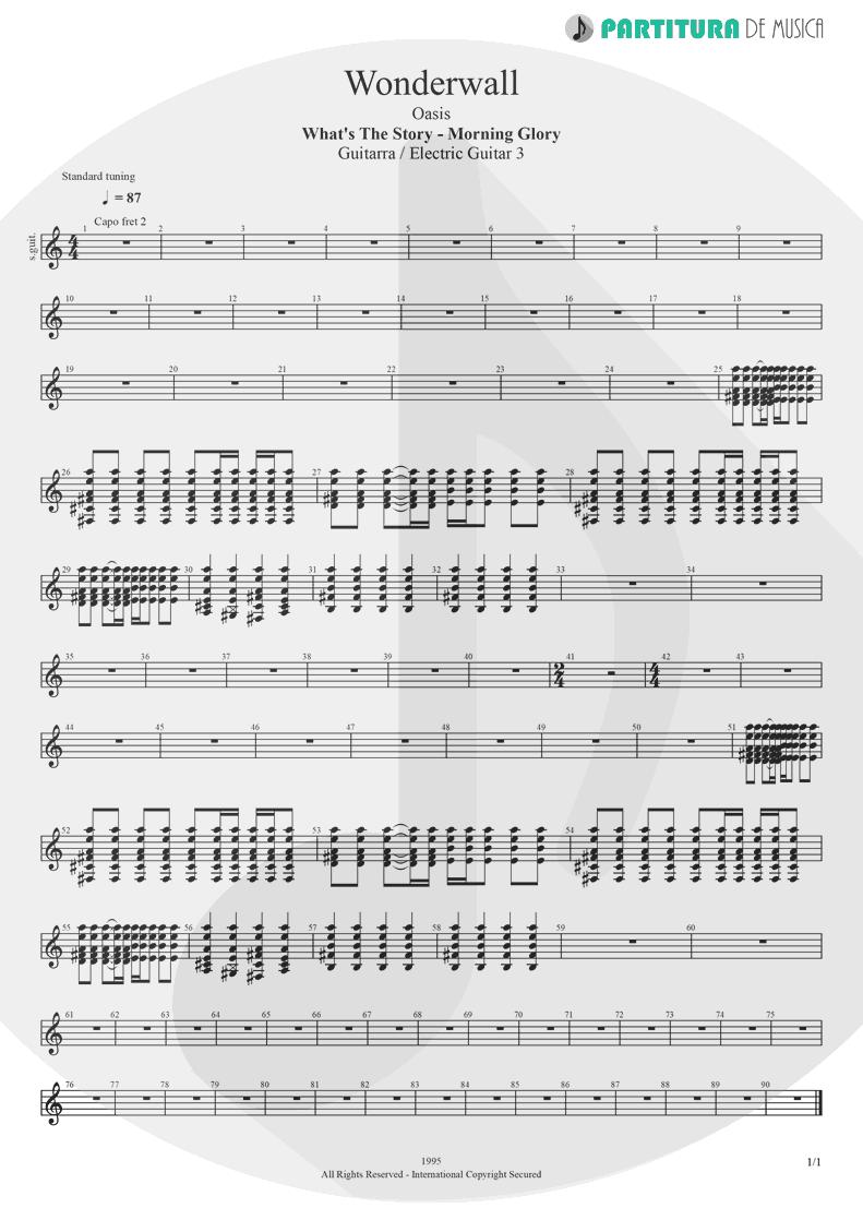 Partitura de musica de Guitarra Elétrica - Wonderwall | Oasis | (What's the Story) Morning Glory? 1995 - pag 1