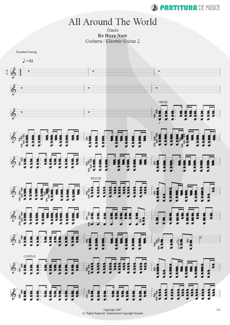 Partitura de musica de Guitarra Elétrica - All Around The World   Oasis   Be Here Now 1997 - pag 1