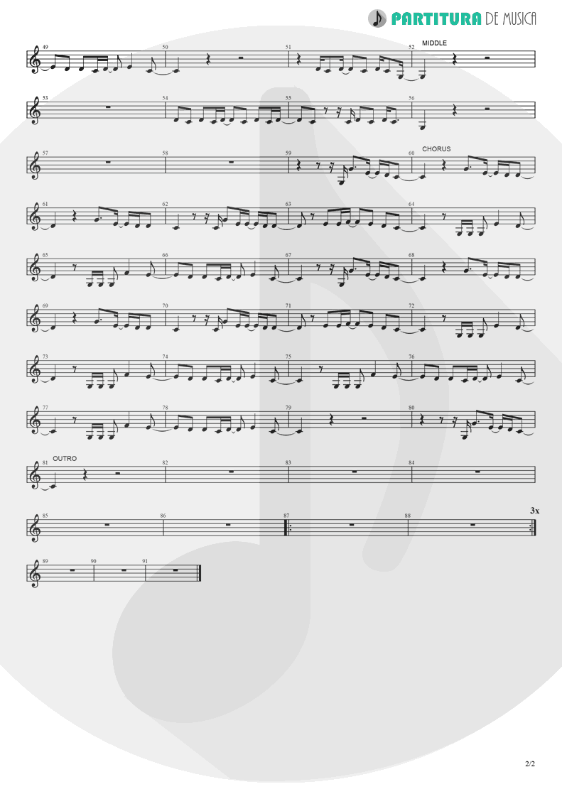 Partitura de musica de Canto - Don't Go Away | Oasis | Be Here Now 1997 - pag 2