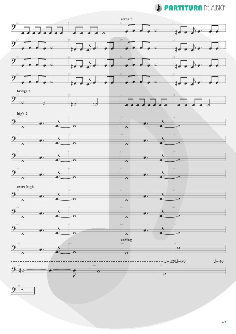 Partitura de musica de Baixo Elétrico - Acquiesce   Oasis   The Masterplan 1998 - pag 2