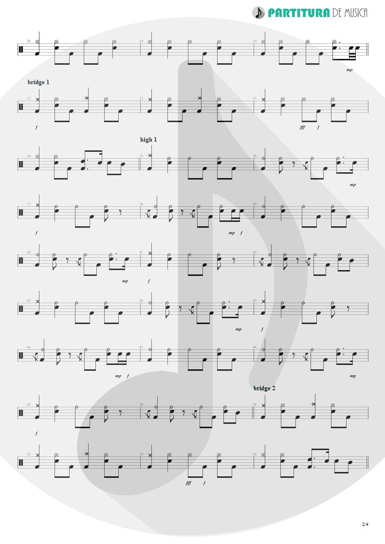 Partitura de musica de Bateria - Acquiesce | Oasis | The Masterplan 1998 - pag 2