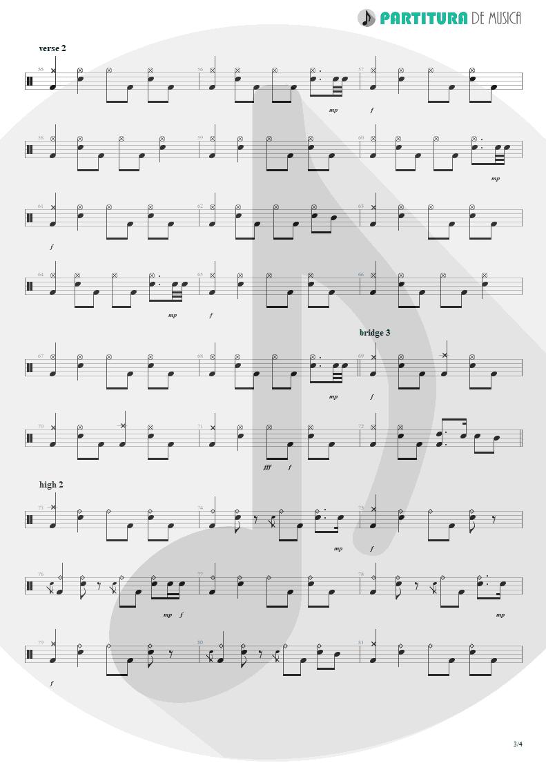 Partitura de musica de Bateria - Acquiesce | Oasis | The Masterplan 1998 - pag 3